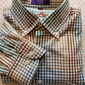 Alan Flusser Mens L Teal/Tan Check L/S Shirt